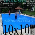 Capa para Piscina de Proteção e Cobertura Super Lona 10 x 10m PP/PE com +96m+96p+ 10 Pet-Bóias