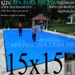 Capa para Piscina de Proteção e Cobertura Super Lona 15 x 15 m PP/PE com +136m+136p + 21 Pet-Bóias