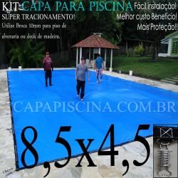 Capa para Piscina de Proteção e Cobertura Super Lona 8,5 x 4,5m PP/PE Azul Cinza com +52m+52p+3b