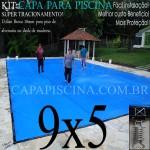 Capa para Piscina de Proteção e Cobertura Super Lona 9 x 5m PP/PE com +72m+72p+3b