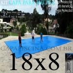 Capa de Piscina Super Lona 18 x 8 PP/PE com +70m+70p+5b