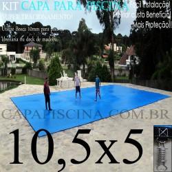 Capa para Piscina de Proteção e Cobertura Super Lona 10,5 x 5m PP/PE com +78m+78p+5b