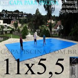 Capa para Piscina de Proteção e Cobertura Super Lona 11 x 5,5m PP/PE com +82m+82p+5b