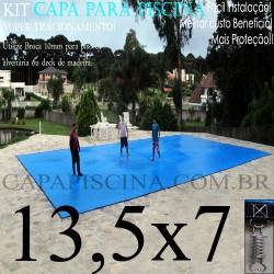 Capa para Piscina de Proteção e Cobertura Super Lona 13,5 x 7m PP/PE com +82m+82p+6b
