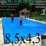 Capa de Piscina Super Lona 8,5 x 4,3 PP/PE com +38m+38p+3b