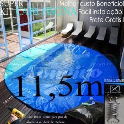 Capa para Piscina de Proteção e Cobertura Redonda: 11,5 metros de Diâmetro PPPE 92m+92p+8b