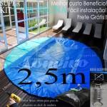 Capa de Piscina Super Redonda 2,5 metros de Diâmetro Az/Az 8m+8p+1b