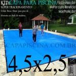 Capa de Piscina Super Lona 4,5 x 2,5 PP/PE com +26m+26p+1b