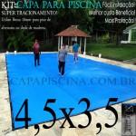 Capa para Piscina de Proteção e Cobertura Super Lona 4,5 x 3,5m PP/PE com +48m+48p+1b