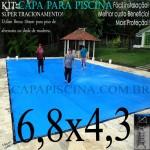 Capa para Piscina de Proteção e Cobertura Super Lona 6,8 x 4,3m PP/PE com +45m+45p+3b