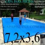 Capa de Piscina Super Lona 7,2 x 3,6 PP/PE com +34m+34p+2b