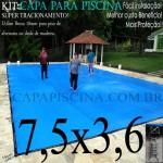 Capa de Piscina Super Lona 7,5 x 3,6 PP/PE com +34m+34p+2b