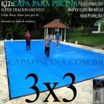 Capa para Piscina de Proteção e Cobertura Super Lona 3 x 3m PP/PE com +40m+40p+1b
