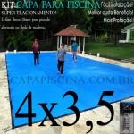 Capa para Piscina de Proteção e Cobertura Super Lona 4 x 3,5m PP/PE com +30m+30p+1b