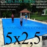 Capa para Piscina de Proteção e Cobertura Super Lona 5 x 2,5m PP/PE com +30m+30p+1b+