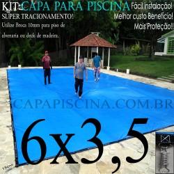 Capa para Piscina de Proteção e Cobertura Super Lona 6 x 3,5m PP/PE Azul Cinza com +38m+38p+3b