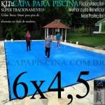 Capa para Piscina de Proteção e Cobertura Super Lona 6 x 4,5m PP/PE com +58m+58p+3b