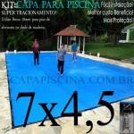 Capa para Piscina de Proteção e Cobertura Super Lona 7 x 4,5m PP/PE Azul Cinza com +48m+48p+3b