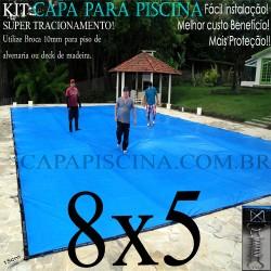 Capa para Piscina de Proteção e Cobertura Super Lona 8 x 5m PP/PE com +68m+68p+3b