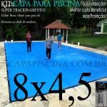 Capa para Piscina de Proteção e Cobertura Super Lona 8 x 4,5m PP/PE com +50m+50p+3b