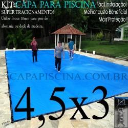 Capa para Piscina de Proteção e Cobertura Super Lona 4,5 x 3m PP/PE Azul/Cinza com +30m+30p+1b