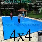 Capa para Piscina de Proteção e Cobertura Super Lona 4 x 4m PP/PE com +48m+48p+1b