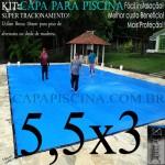 Capa para Piscina de Proteção e Cobertura Super Lona 5,5 x 3m PP/PE Azul Cinza com 46m+46p+1b