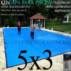 Capa para Piscina de Proteção e Cobertura Super Lona 5 x 3m PP/PE Azul Cinza com +48m+48p+1b