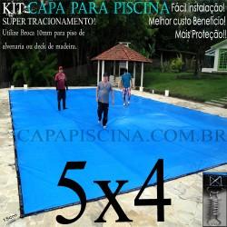 Capa para Piscina de Proteção e Cobertura Super Lona 5 x 4m PP/PE com +52m+52p+1b