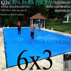 Capa para Piscina de Proteção e Cobertura Super Lona 6 x 3m PP/PE Azul Cinza com 48m+48p+3b