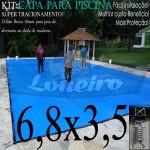 Capa para Piscina de Proteção e Cobertura Super Lona 6,8 x 3,5m PP/PE Azul Cinza com +58m+58p+3b