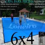 Capa para Piscina de Proteção e Cobertura Super Lona 6 x 4m PP/PE Azul Cinza com +56m+56p+3b