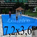 Capa para Piscina de Proteção e Cobertura Super Lona 7,2 x 3,6m PP/PE com +60m+60p+3b