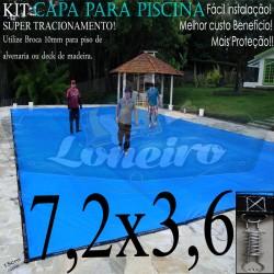 Capa para Piscina de Proteção e Cobertura Super Lona 7,2 x 3,6m PP/PE com +56m+56p+3b
