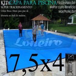 Capa para Piscina de Proteção e Cobertura Super Lona 7,5 x 4m PP/PE com +62m+62p+3b