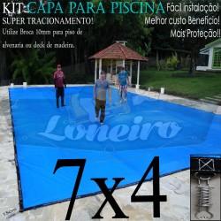 Capa para Piscina de Proteção e Cobertura Super Lona 7 x 4m PP/PE com +60m+60p+3b
