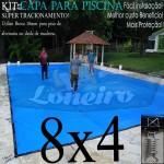 Capa para Piscina de Proteção e Cobertura Super Lona 8 x 4m PP/PE com +64m+64p+3b
