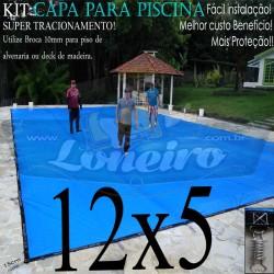 Capa para Piscina de Proteção e Cobertura Super Lona 12 x 5m PP/PE com +80m+80p+5b