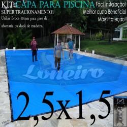 Capa para Piscina de Proteção e Cobertura Super Lona 2,5 x 1,5m PP/PE com +32m+32p+1b
