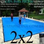 Capa para Piscina de Proteção e Cobertura Super Lona 2 x 2m PP/PE com +28m+28p+1b