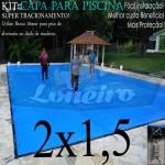 Capa para Piscina de Proteção e Cobertura Super Lona 2 x 1,5m PP/PE com +30m+30p +1b solta