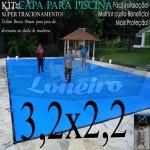 Capa para Piscina de Proteção e Cobertura Super Lona 3,2 x 2,2m PP/PE Azul/Cinza com +24m+24p+1b