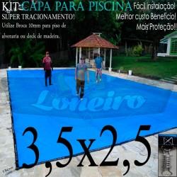 Capa para Piscina de Proteção e Cobertura Super Lona 3,5 x 2,5m PP/PE com +40m+40p+1b