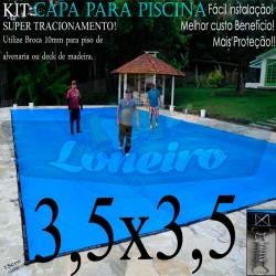 Capa para Piscina de Proteção e Cobertura Super Lona 3,5 x 3,5m PP/PE com +44m+44p+1b