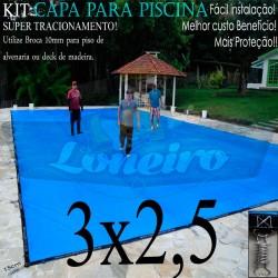 Capa para Piscina de Proteção e Cobertura Super Lona 3 x 2,5m PP/PE com +38m+38p+1b