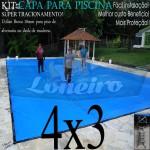Capa para Piscina de Proteção e Cobertura Super Lona 4 x 3m PP/PE com +44m+44p+1b