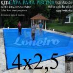 Capa de Piscina para Proteção Cobertura Lona 4 x 2,5m PP/PE Azul/Cinza com +42m+42p+1b