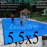 Capa para Piscina de Proteção e Cobertura Super Lona 5,5 x 5,0m PP/PE com +42m+42p+2b