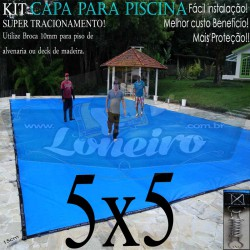 Capa para Piscina de Proteção e Cobertura Super Lona 5 x 5m PP/PE com +52m+52p+2b