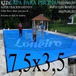 Capa para Piscina de Proteção e Cobertura Super Lona 7,5 x 3,5m PP/PE com +44m+44p+3b